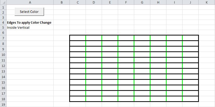 Excel VBA, Example 2, Border, Color, Edge Selector, Result