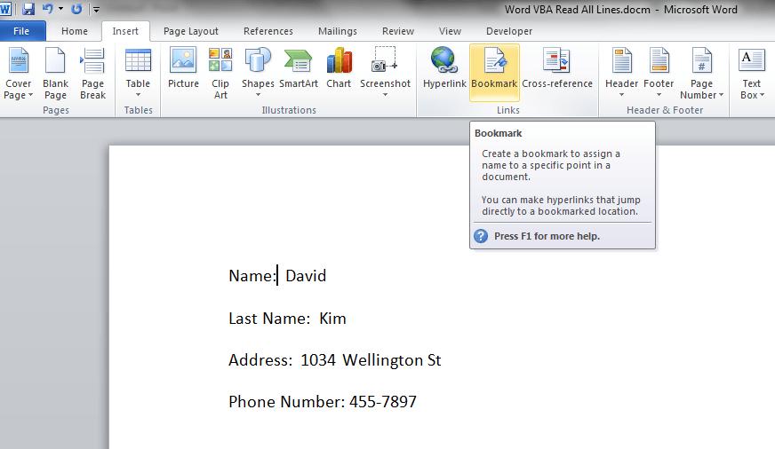 Create Name Bookmark, 2