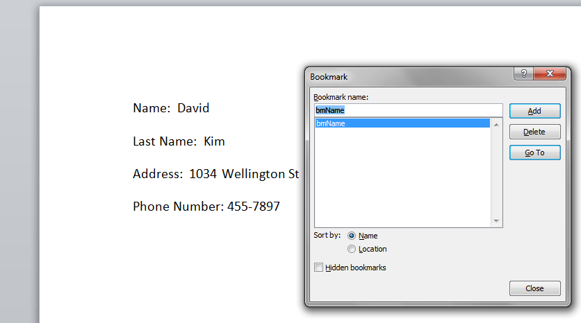 Create Name Bookmark