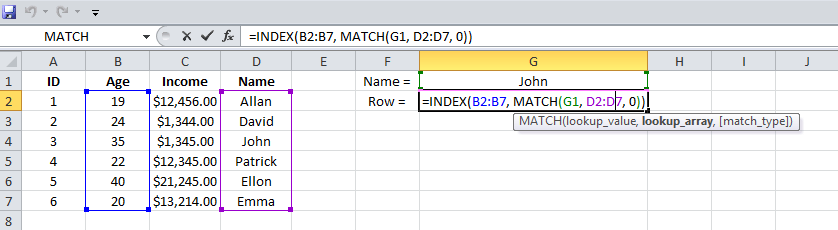 Example 2 Excel MATCH, INDEX