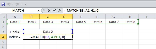 Example  3 Excel MATCH Function horizontal range