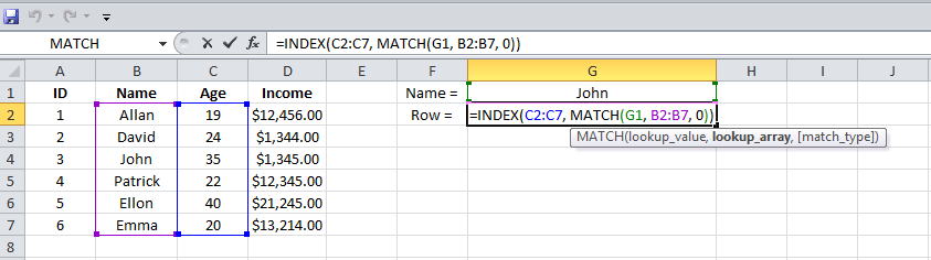 Excel, INDEX, MATCH functions