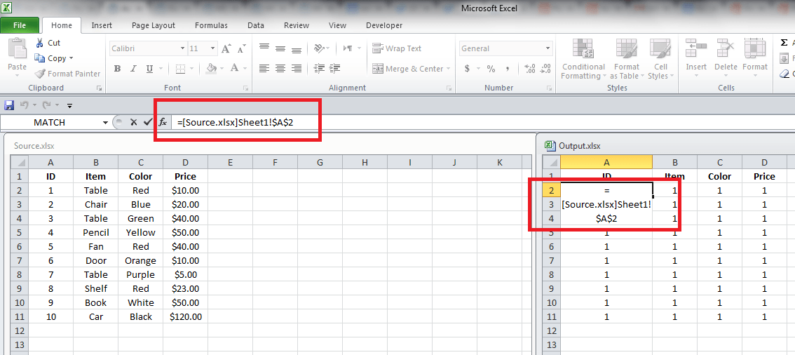 Excel Link, Formula in cell A2