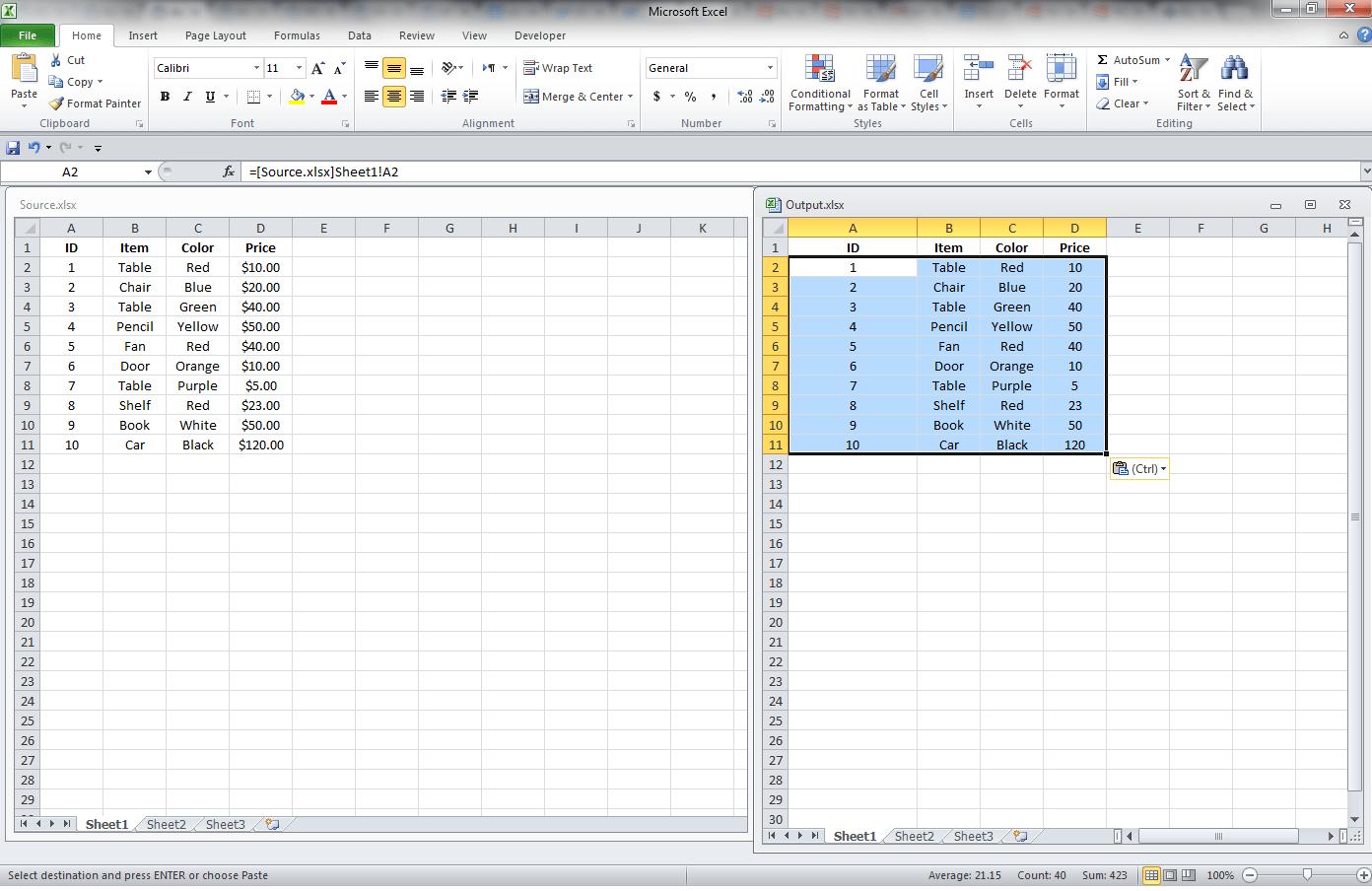 Excel Link, Multiple Cells