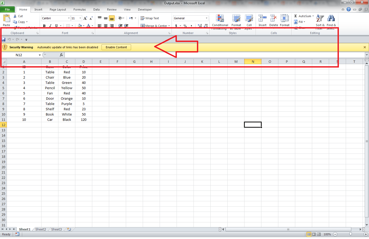 Excel Links, Security Warning