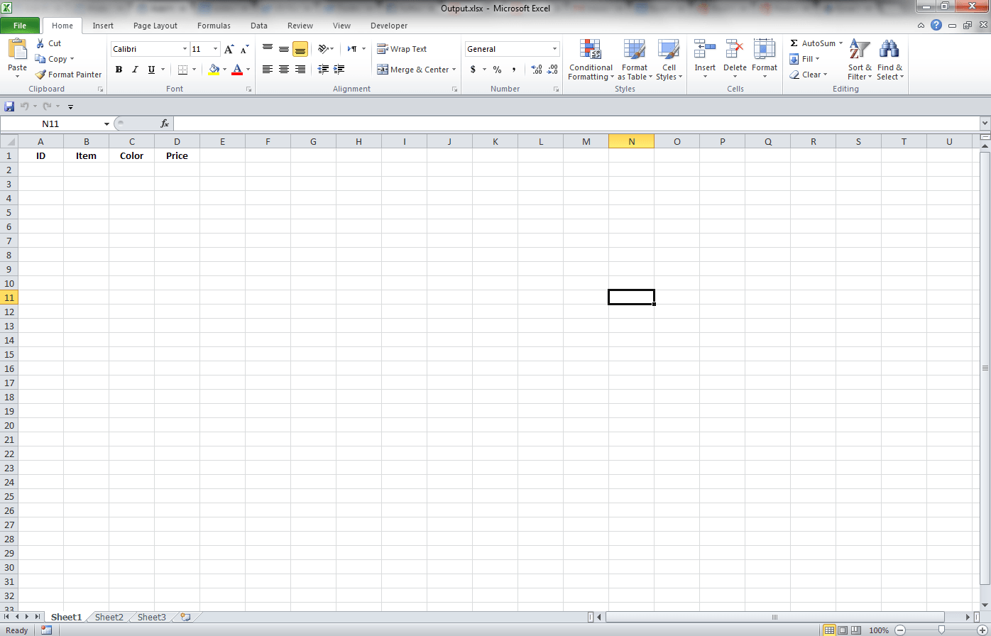 Excel output File