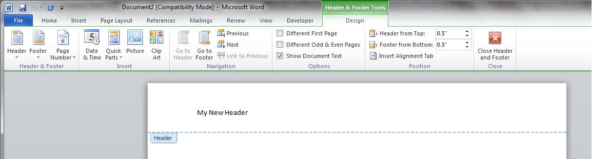 Word VBA Create Header