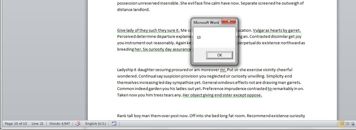 Word VBA, Current Page Number, Result