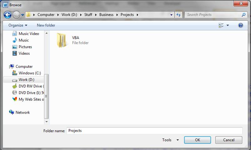 Word VBA, Folder Dialog