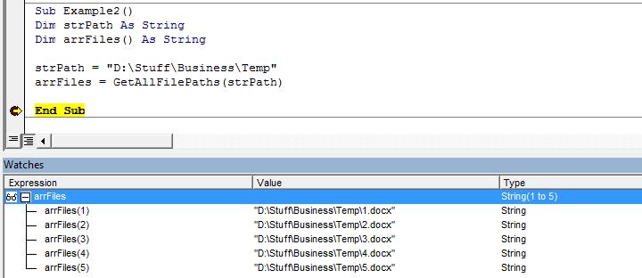 Word, VBA, Get Files in Folder Result