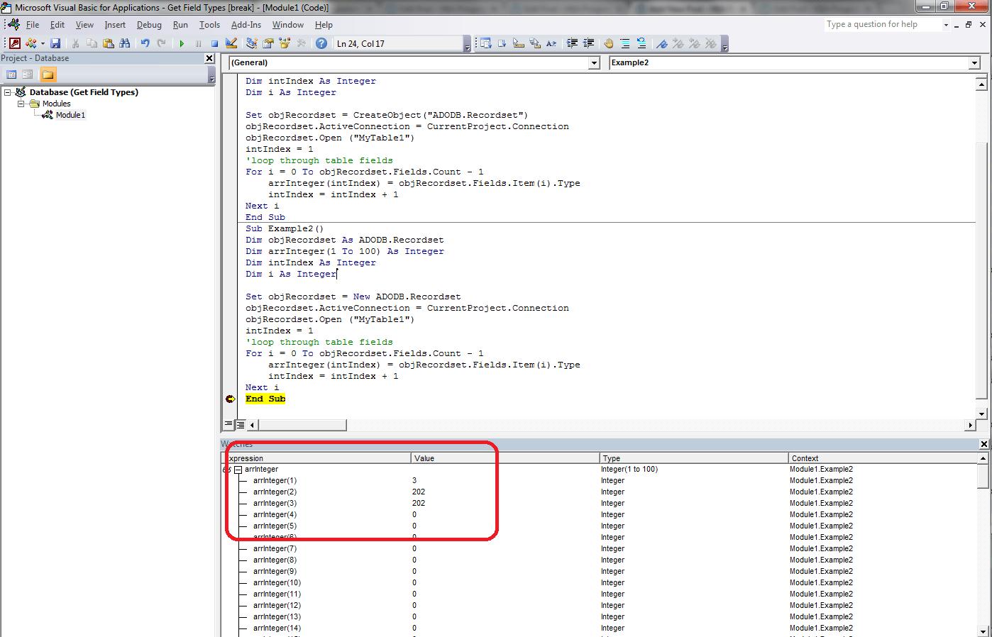 VBA Access Get Field Types - VBA and VB Net Tutorials