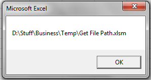Excel VBA, Get Current File Path and Name - VBA and VB Net