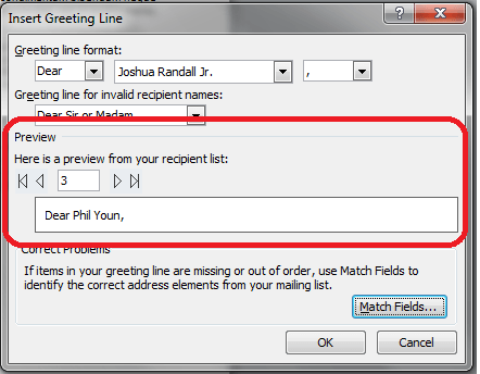Word mailings greeting line mail merge vba and vb tutorials method 1 on the greeting line window itself you can preview how the greeting line will be inserted in the document m4hsunfo