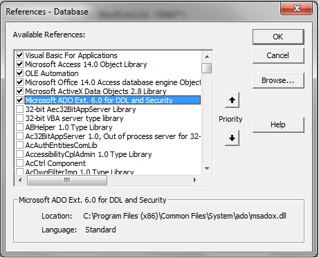 VBA Access ADOX Catalog, Object Library - VBA and VB Net Tutorials