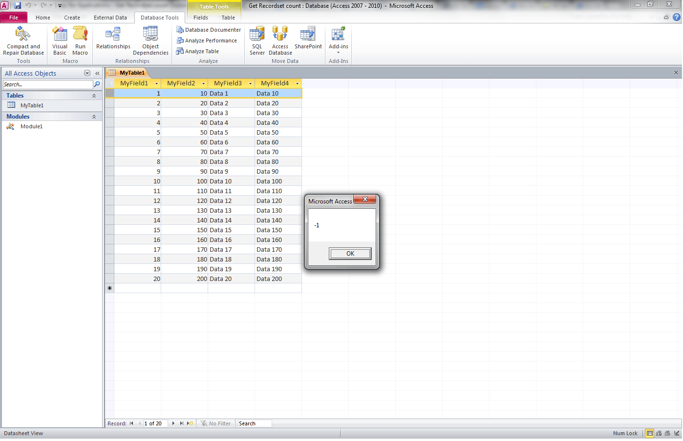 VBA Access, Recordset Recordcount - VBA and VB Net Tutorials