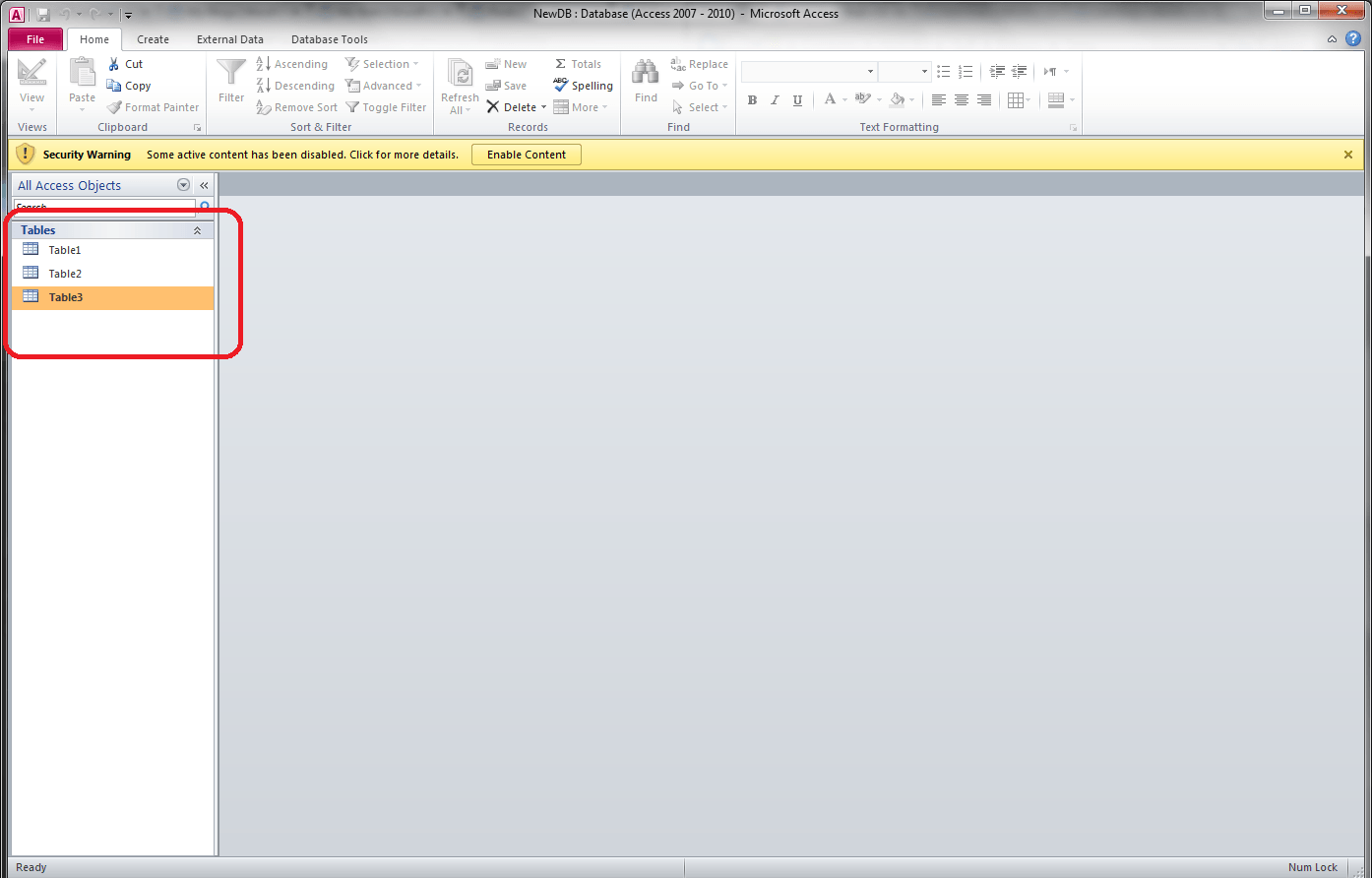Tables in Database