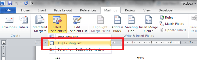 Word Mail Merge Use Existing List