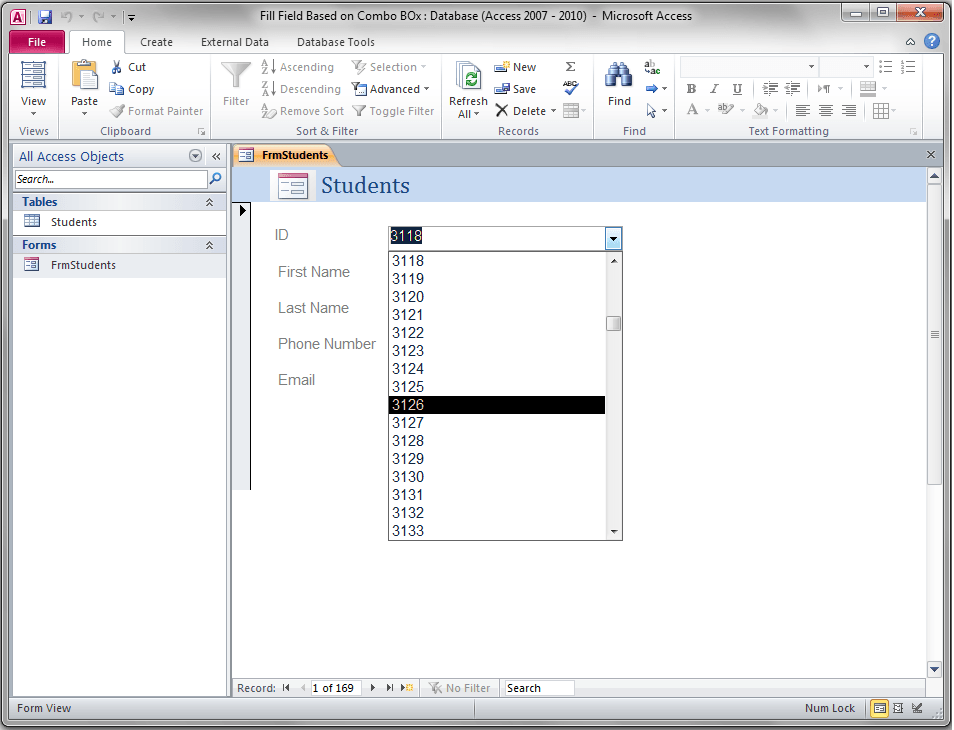 Access Form, Populate TextBoxes Based On ComboBox - VBA and