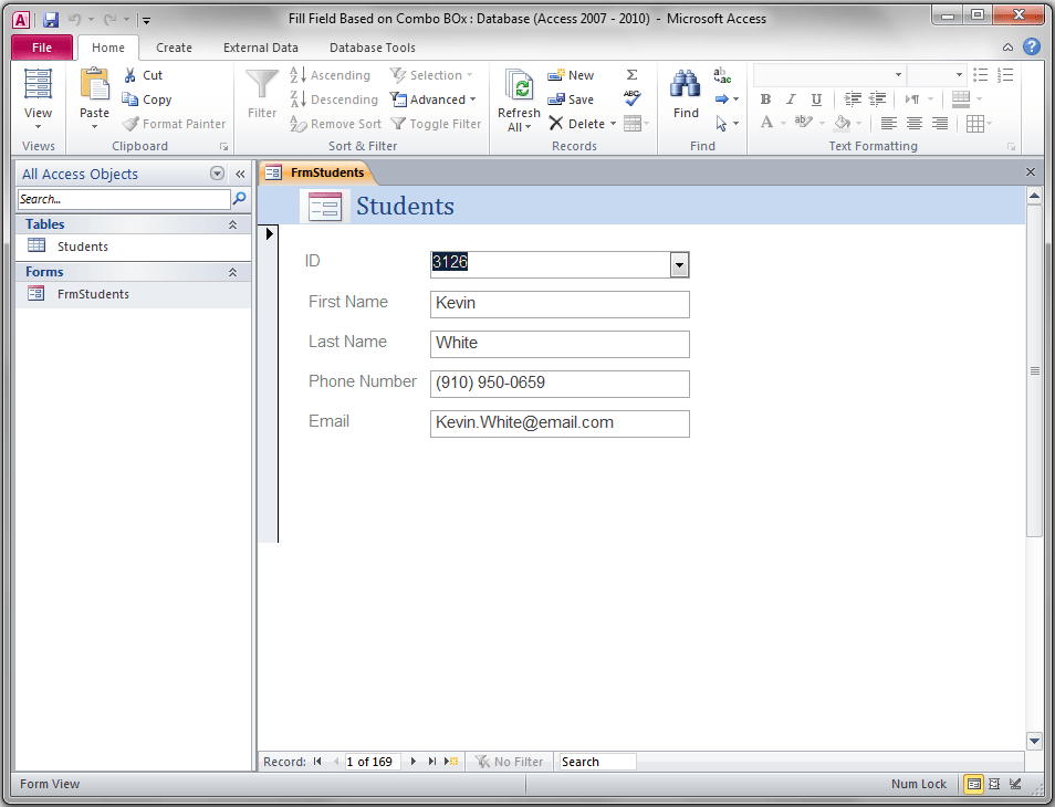 Access Form, Populate TextBoxes Based On ComboBox - VBA and VB Net