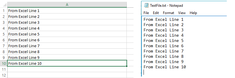excel file after executing append code