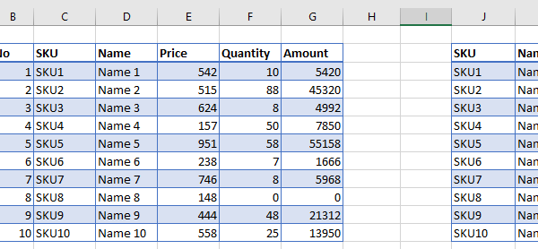 Excel pasted data