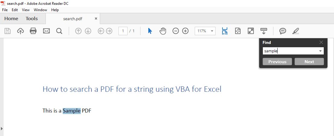 How to Search a PDF for a String Using VBA for Excel - VBA