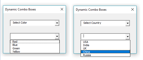 How to create an Excel user form with dynamic combo boxes - VBA and