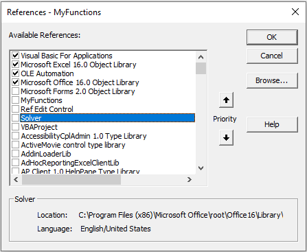 the references dialog box in vba