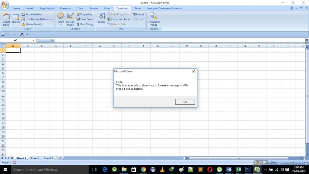 Properly formmated messagebox using vbcrlf