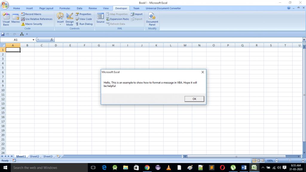 Unformatted message box using vbcrlf
