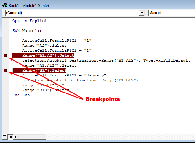 insert breakpoints in your code