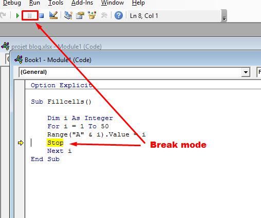 highlighted line of code in break mode