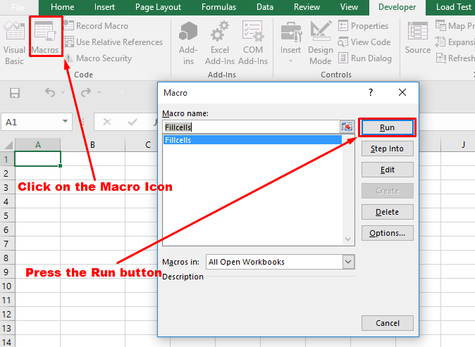 run procedure from dialog box