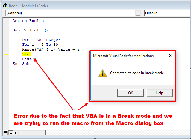 can't execute in break mode error popup