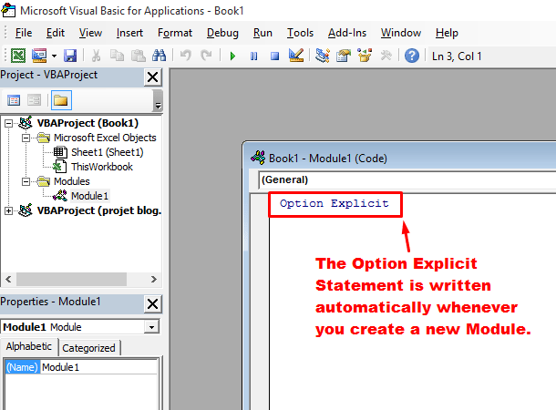 option explicit is automatically filled in