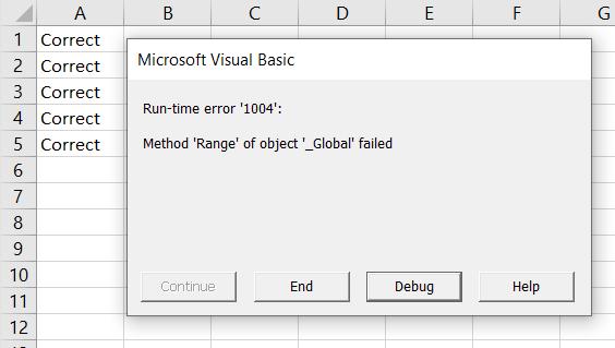 method range of object global failed