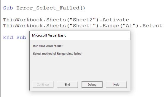 select method of range class failed
