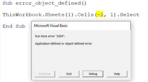 application defined or object defined error