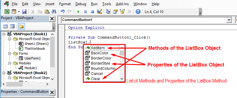 intellisense features for an object