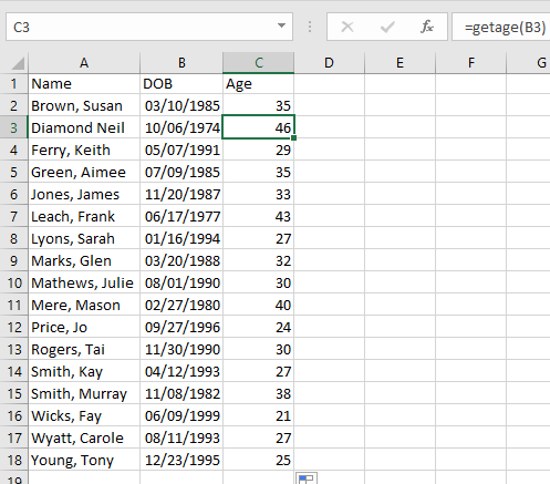 The entire spreadsheet is filled