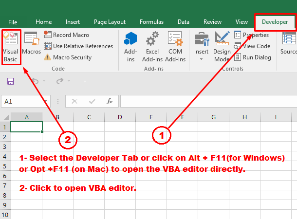 Getting to the VBA editor in Excel