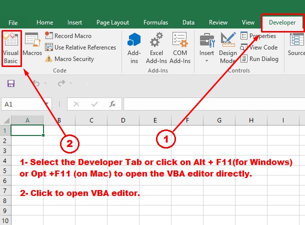 open vba editor