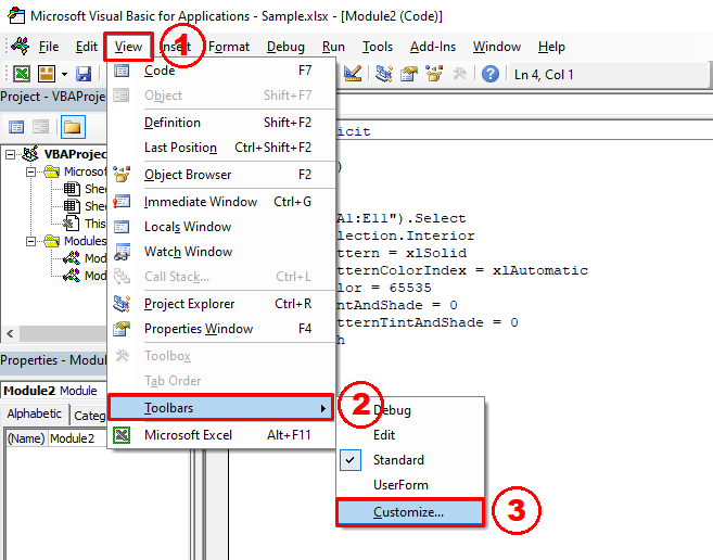 Inserting a comment using the VBA editor toolbar