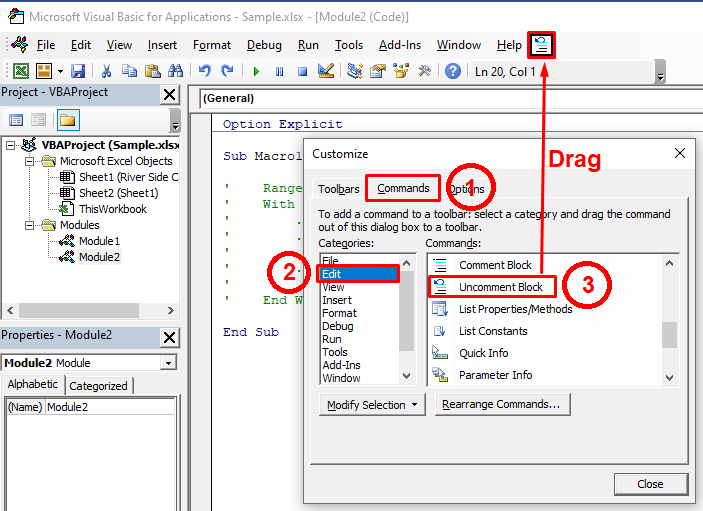 Selecting uncomment block from the menu