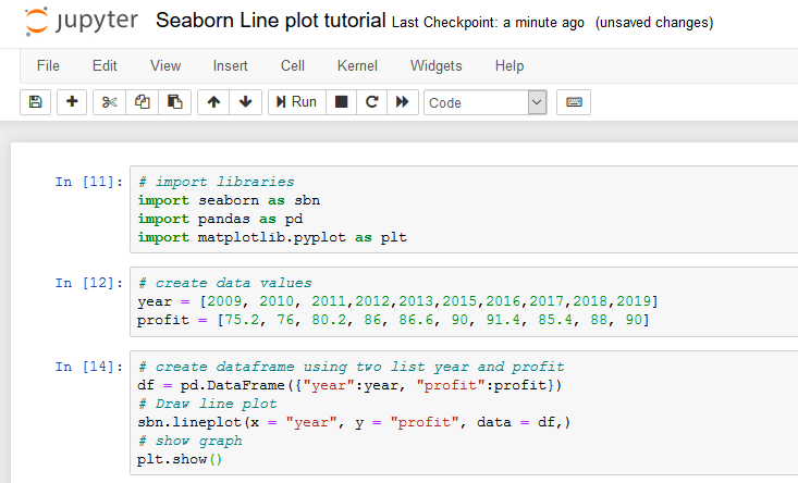 jupyter notebook for line plot in seaborn