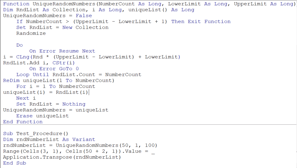 VBA code for generating a unique random number and a procedure to test that function