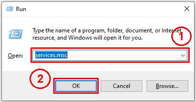 starting windows services via run dialog