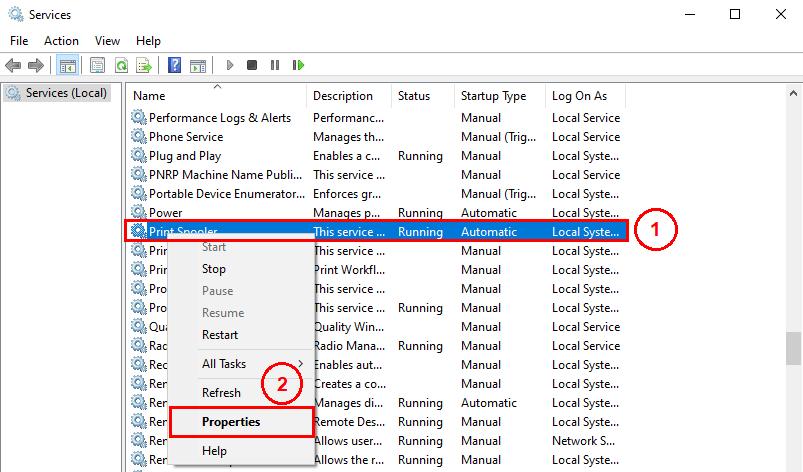 Properties of print spooler service