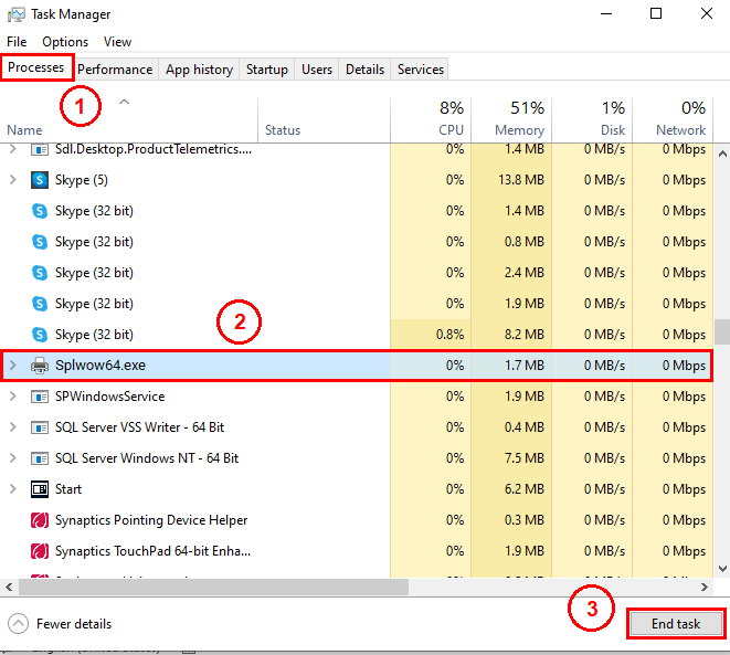 Viewing the splwow64.exe process in the task manager