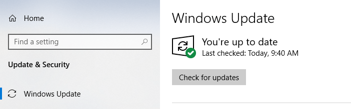 Windows 10 is up to date